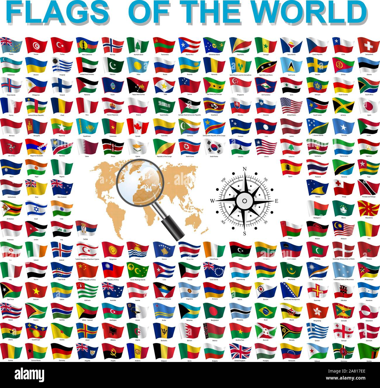 Set of Flags of world sovereign states signed by the countries names. Stock Vector