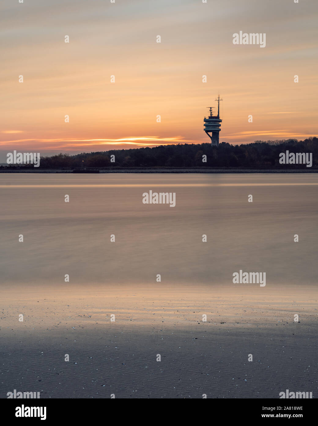 Sunrise over the Baltic sea during late Autumn and Spring season. Stock Photo