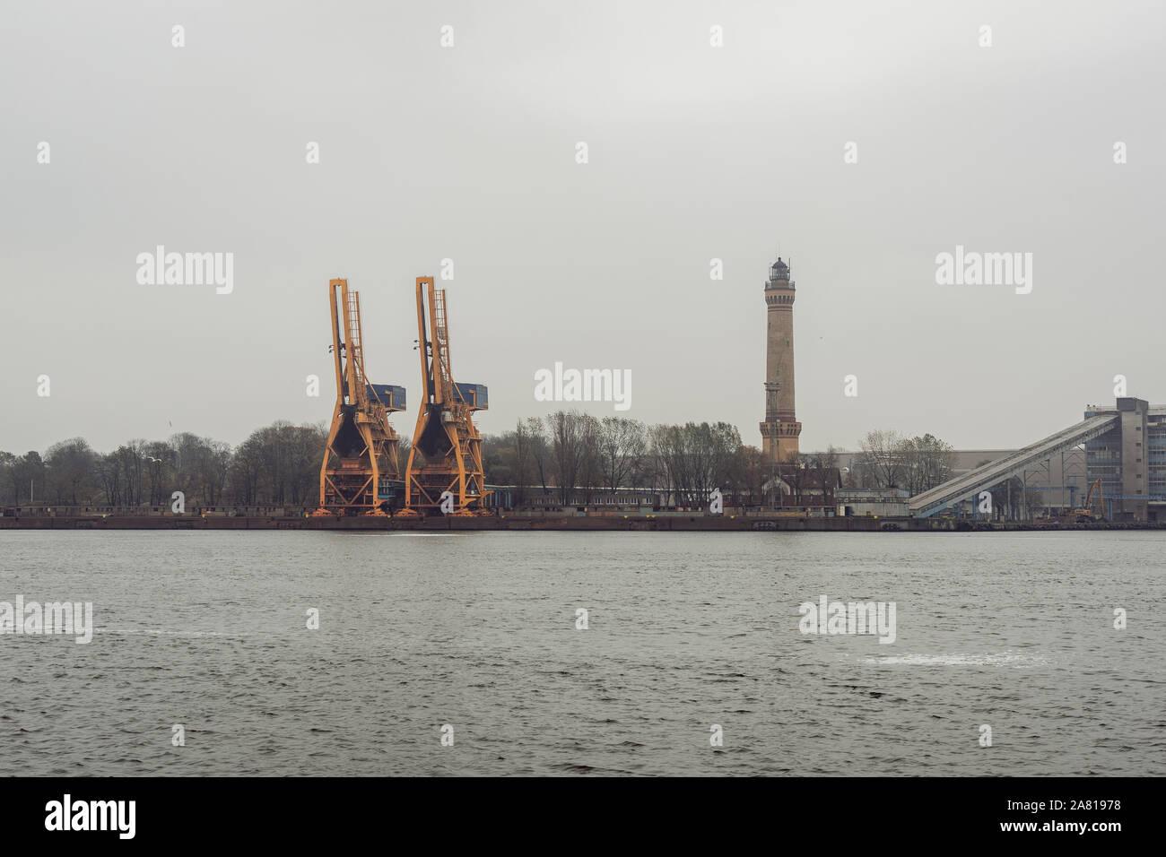 Photography of a logistics/cargo shipyard. Swinoujscie, Poland. Stock Photo