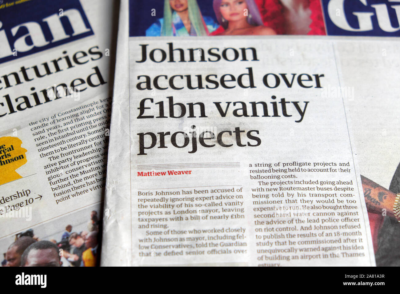 """Boris """"Johnson accused over £1bn vanity projects"""" in Guardian newspaper headline on front page 17 July 2019  London England UK Stock Photo"""