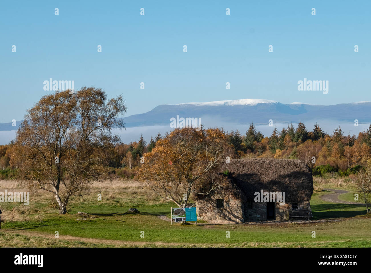 Leanach cottage, Culloden Moor. The cottage dates from the time of the battle and has been recently restored by the National Trust for Scotland. Stock Photo