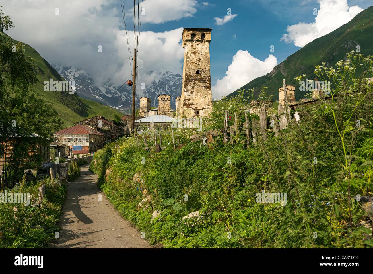 Ushguli village, Upper Svaneti, Georgia Stock Photo