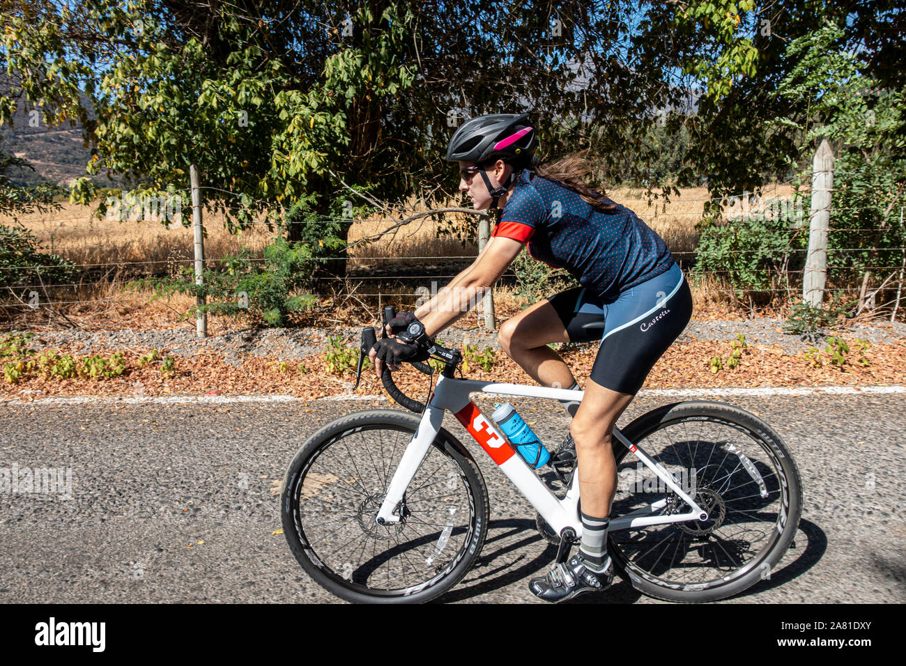 Female cyclist riding a gravel bike on the road. Stock Photo