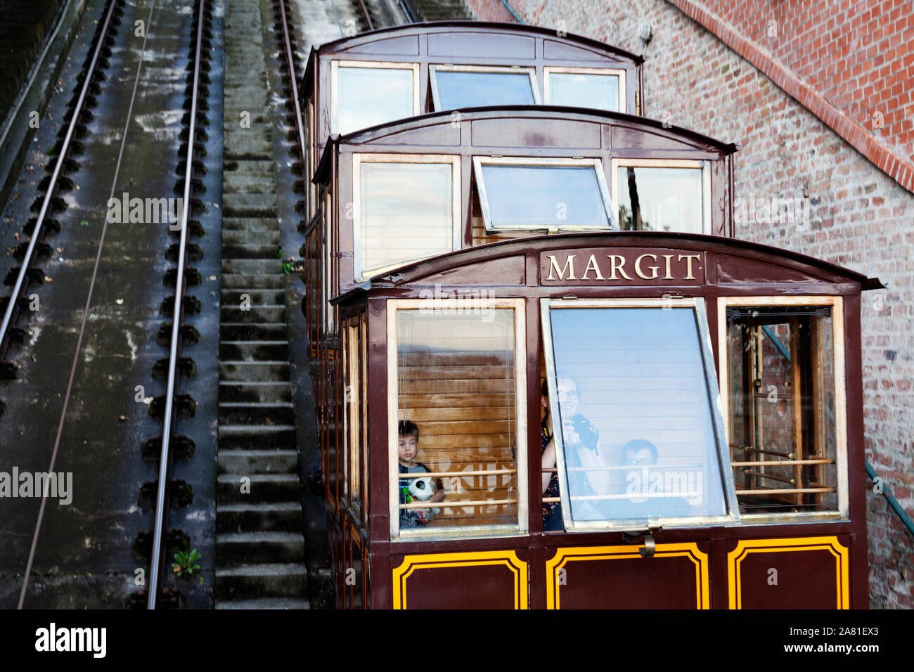 Budapest, Hungary - May 27, 2019: train going on a very steep hill up to the castle Stock Photo