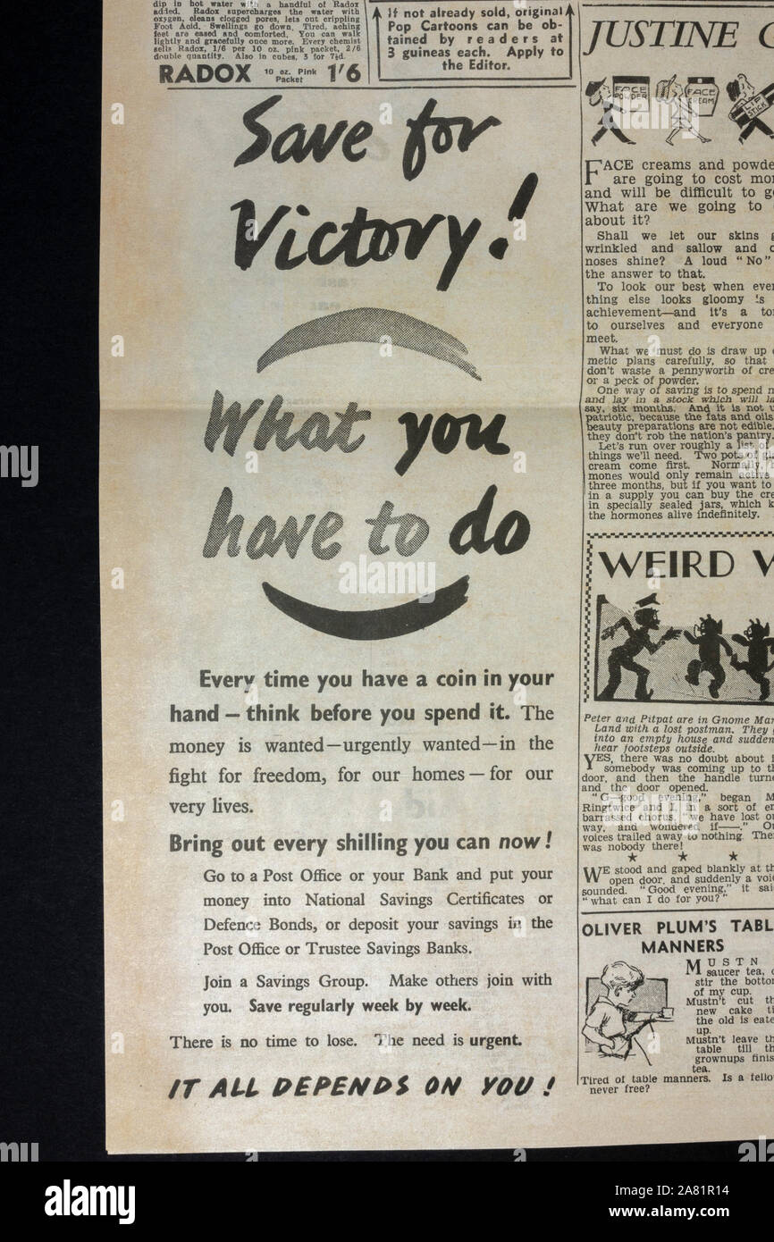 Ad for National Savings Certificates to aid the War Effort: Daily Sketch newspaper (replica), 19th June 1940 (during Battle of Britain). Stock Photo