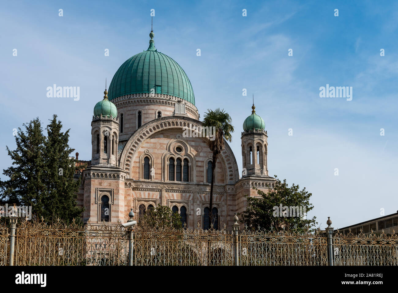 FLORENCE, ITALY - 25, MARCH, 2016: Horizontal picture of beautiful architecture of The Great Synagogue located in  Florence, Italy Stock Photo