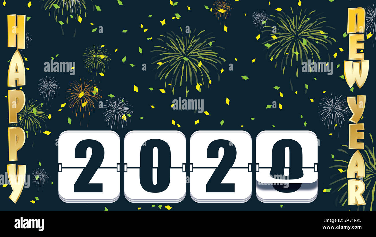2019 New years Countdown clock changing numeral with festive background and flip type Stock Photo