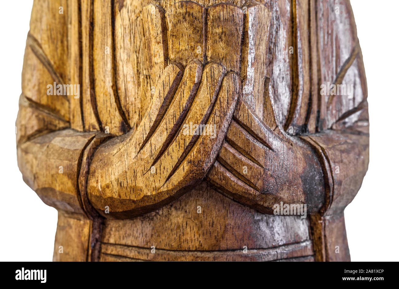 Carved Wooden Buddha Statue High Resolution Stock