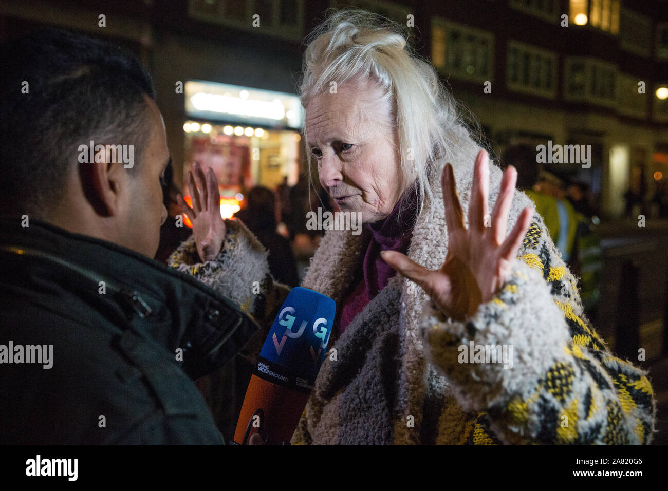 London Uk 5 November 2019 Fashion Designer Vivienne Westwood Speaks In Support Of Wikileaks Whistleblower Julian Assange Before A Protest By The Don T Extradite Assange Campaign Outside The Home Office Against His