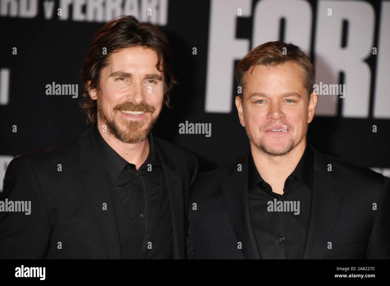 Hollywood Ca November 04 Christian Bale L And Matt Damon Attend The Premiere Of Fox S Ford V Ferrari At Tcl Chinese Theatre On November 04 2019 In Hollywood California Stock Photo Alamy
