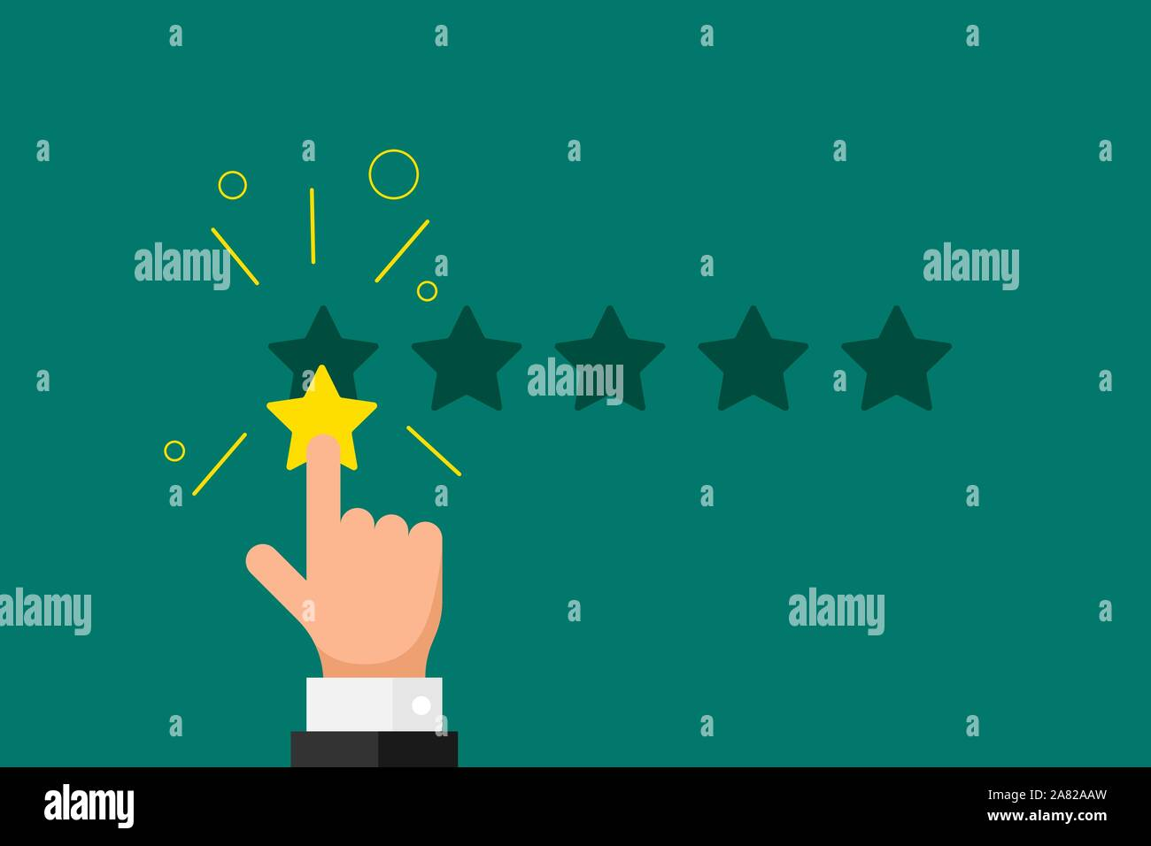 Online feedback reputation bad quality customer review concept. Businessman hand finger pointing 1 one gold star rating opinion on green background. Vector negative rank vote result illustration Stock Vector