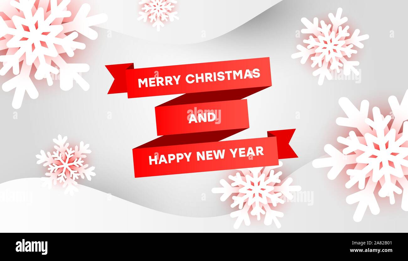 merry christmas and happy new year greeting card template with red ribbon 3d snowflakes and liquid shapes on a white background with place for your t stock vector image art https www alamy com merry christmas and happy new year greeting card template with red ribbon 3d snowflakes and liquid shapes on a white background with place for your t image331966769 html
