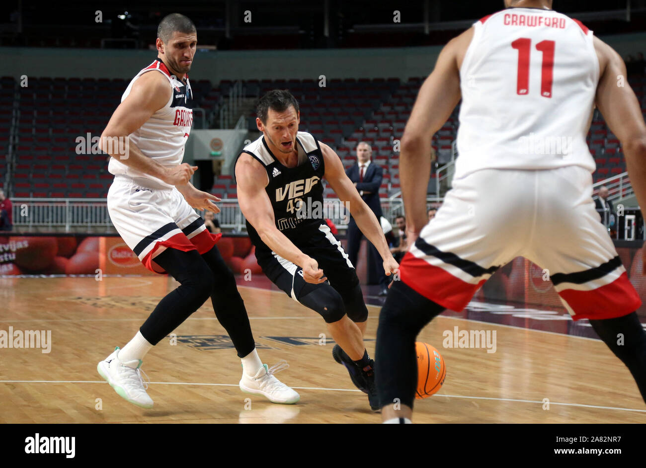 Riga, Latvia. 5th Nov, 2019. Janis Blums (C) of VEF Riga breaks through during the group C match at Europe Basketball Champions League in Riga, Latvia, on Nov. 5, 2019. Credit: Edijs Palens/Xinhua/Alamy Live News Stock Photo