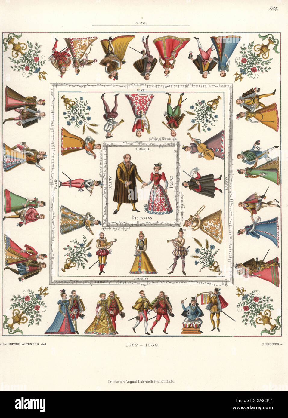 Tablecloth in white canvas decorated with images of the wedding of Count Poppo von Henneberg and Sophia von Braunschweig, with musicians, music notation, and courtiers dancing. Chromolithograph from Hefner-Alteneck's Costumes, Artworks and Appliances from the Middle Ages to the 17th Century, Frankfurt, 1889. Illustration by Dr. Jakob Heinrich von Hefner-Alteneck, lithographed by C. Regnier. Dr. Hefner-Alteneck (1811-1903) was a German museum curator, archaeologist, art historian, illustrator and etcher. Stock Photo