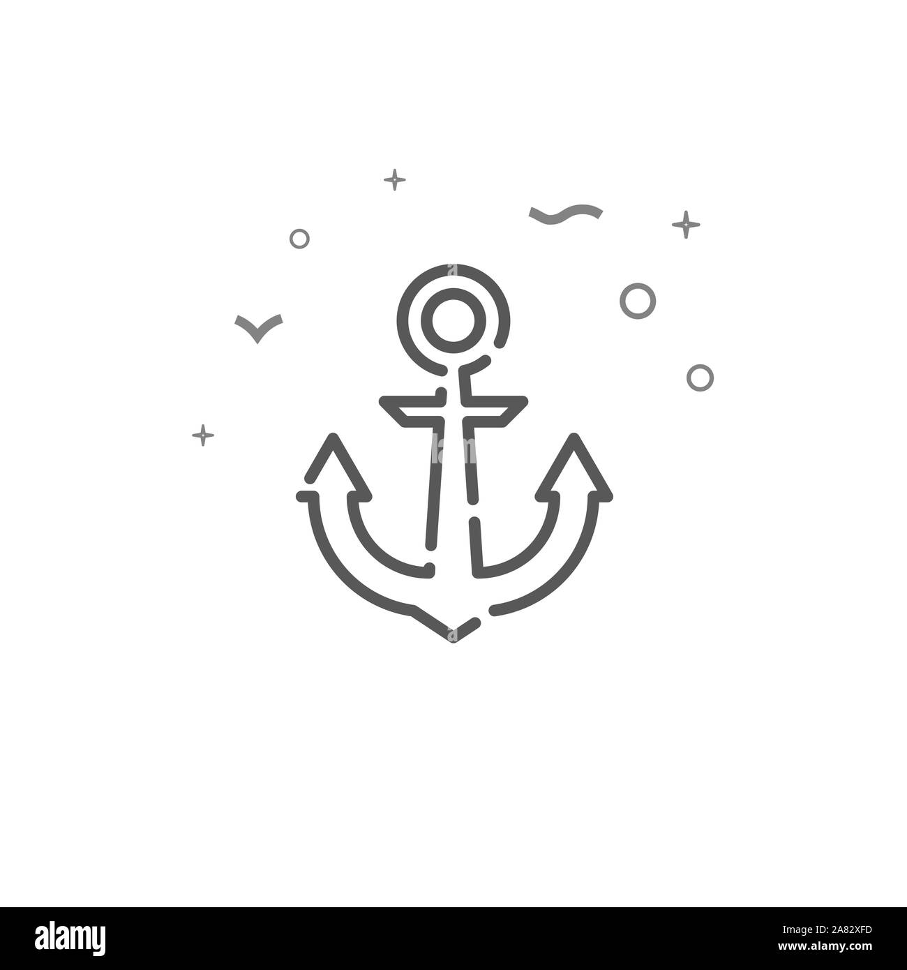 Ship anchor simple line icon. Ship anchor symbol, pictogram, sign. Light background. Stock Photo