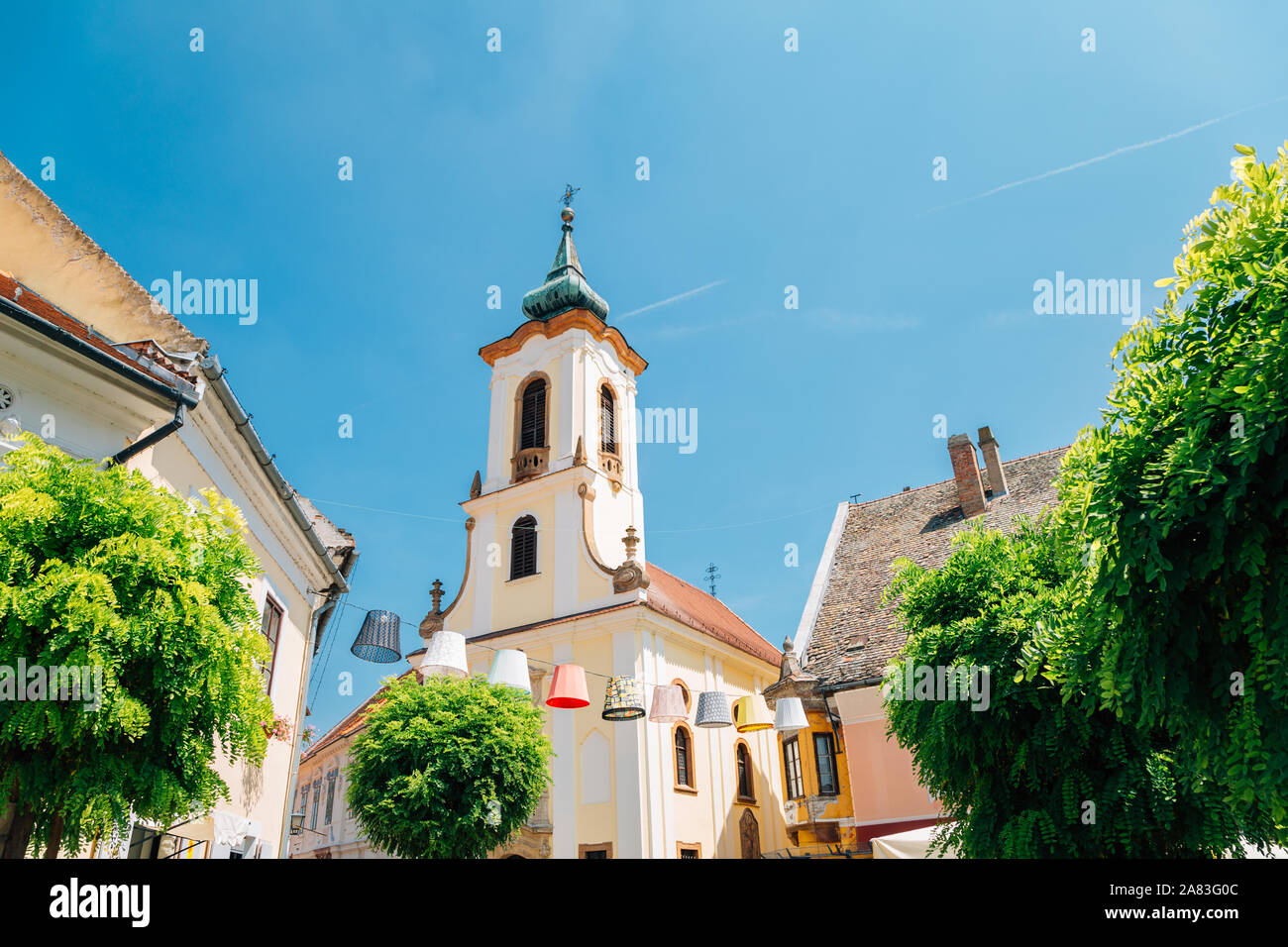 Blagovestenska church at Szentendre medieval old town main square in Hungary Stock Photo
