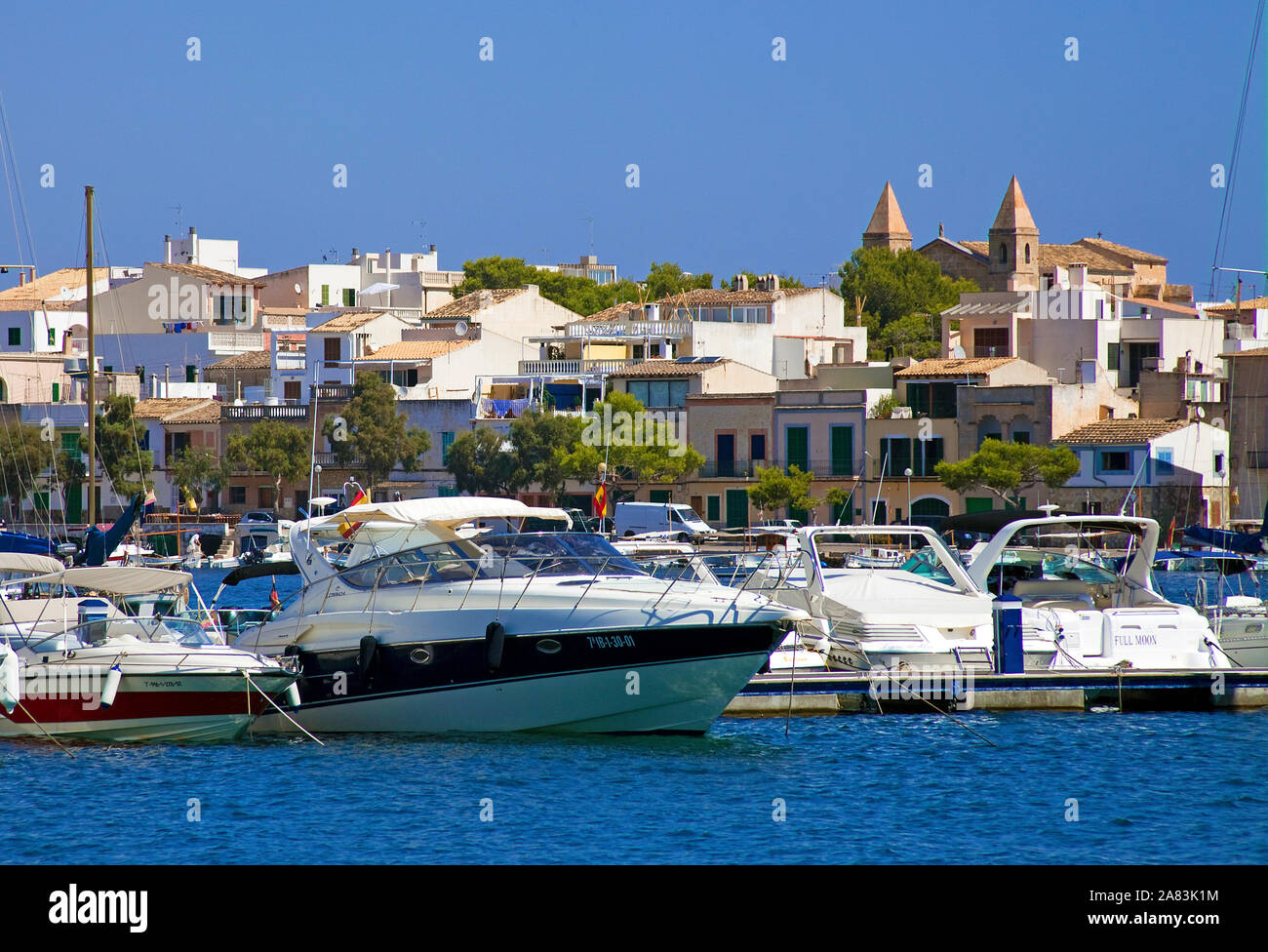Boats at the harbour of Porto Colom, Mallorca, Balearic islands, Spain Stock Photo
