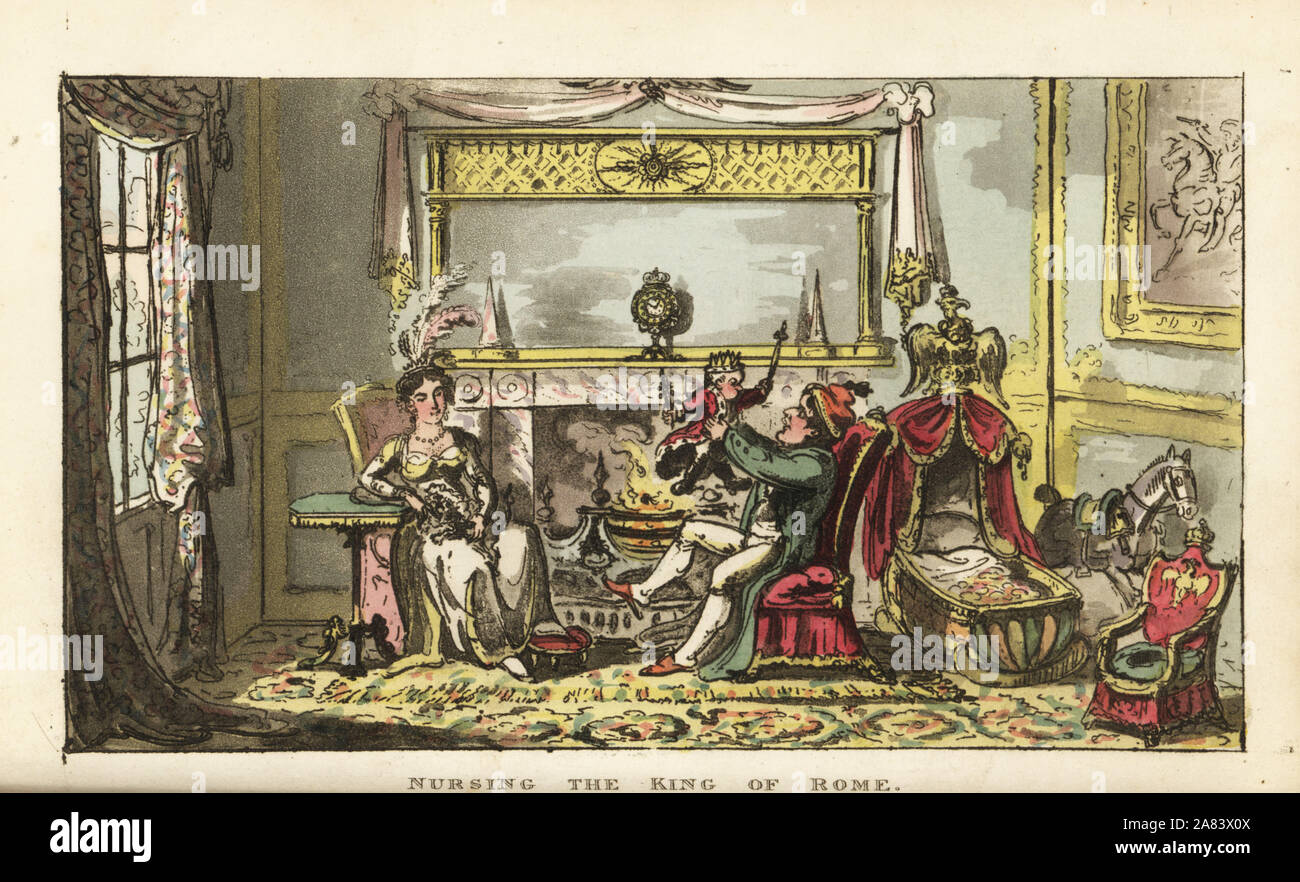 Napoleon Bonaparte and Empress Marie Louise nursing their first son Napoleon Francois Charles Joseph Bonaparte, King of Rome, 1811. Handcoloured copperplate engraving by George Cruikshank from The Life of Napoleon a Hudibrastic Poem by Doctor Syntax, T. Tegg, London, 1815. Stock Photo