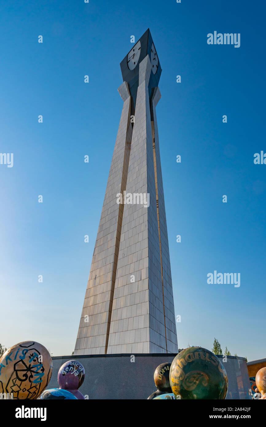 Nur-Sultan Astana Central City Tsentralnyy Gorodskoy Park View of Day of Kazakhstan Monument on a Sunny Blue Sky Day Stock Photo