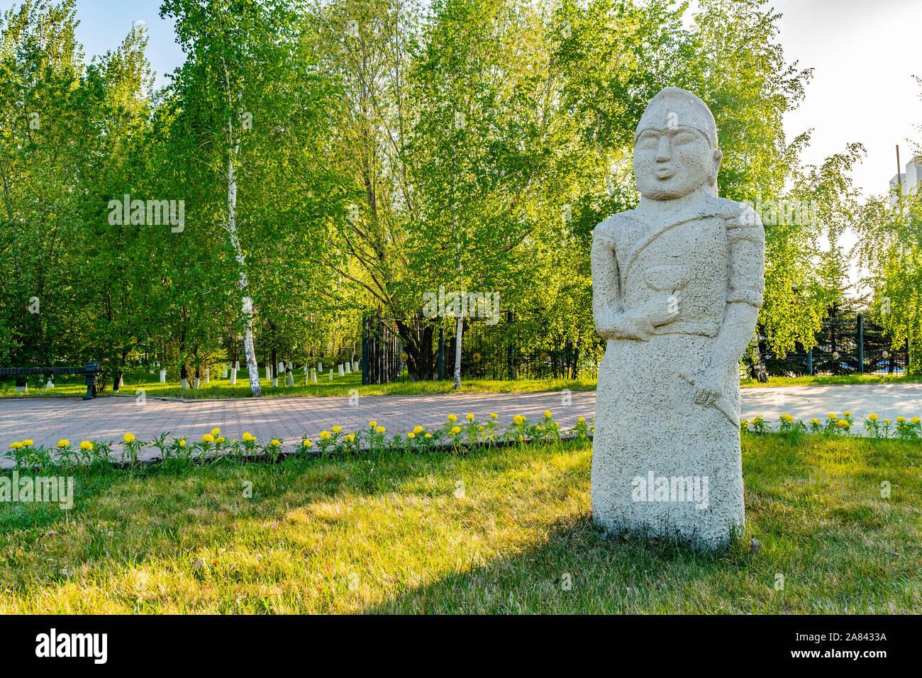 Nur-Sultan Astana Central City Tsentralnyy Gorodskoy Park View of a Balbal Sculpture on a Sunny Blue Sky Day Stock Photo