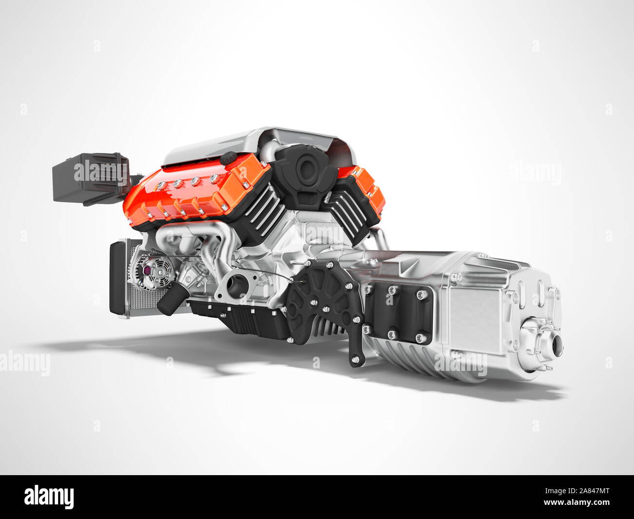 Car engine with air filters and manifold gearbox 3d render on gray background with shadow Stock Photo