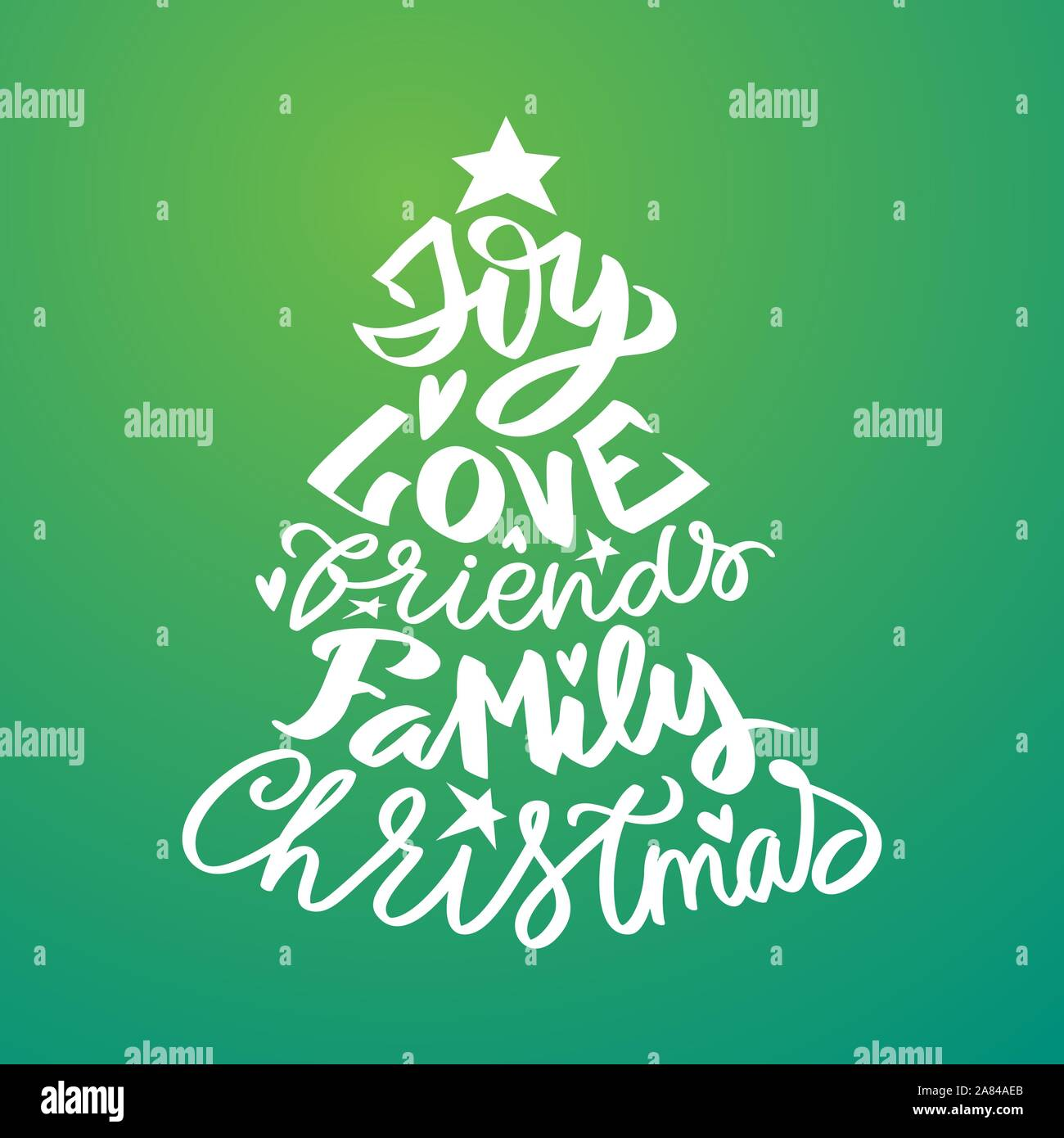 Christmas lettering with cristmas words - joy, family, love, friends - modern calligraphy lettering for postcards, tags, photo overlays, poster, t-shi Stock Vector