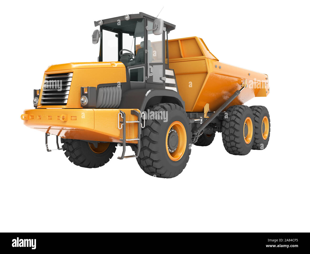 Construction equipment orange dump trucks with articulated frame isolated 3d render on white background no shadow Stock Photo