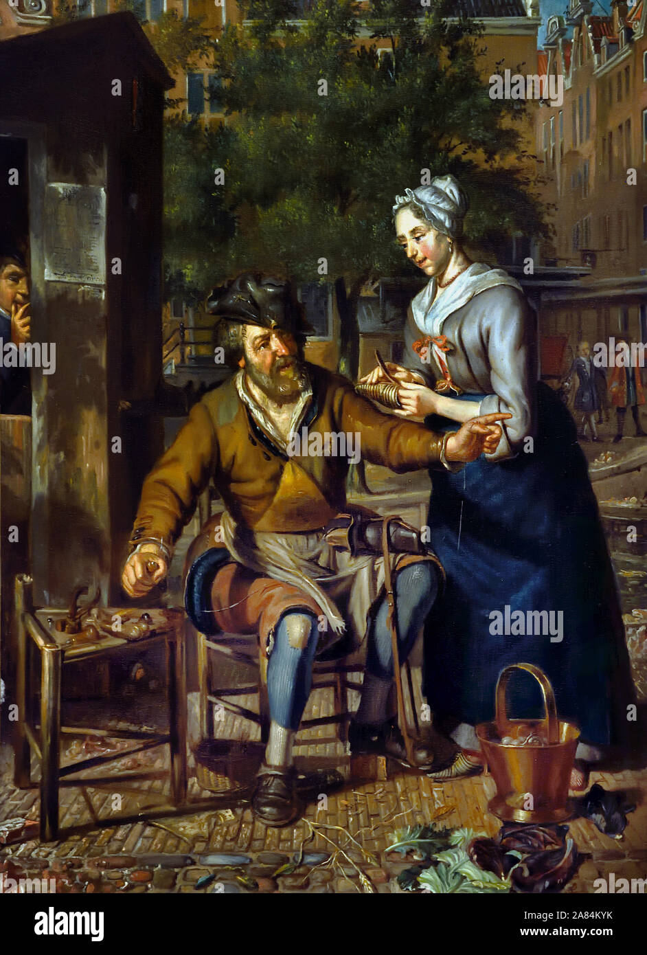 Cobbler working on the street, by Matthijs Naiveu 1647-1726 The Netherlands, Dutch, ( mending shoes and taking care ) Stock Photo