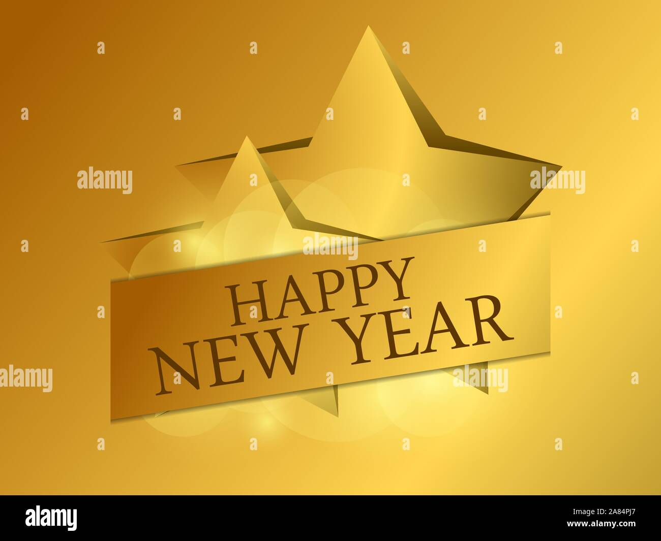 Happy New Year 2020 Golden Stars On Gold Gradient