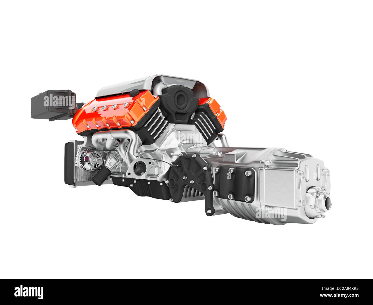 Car engine with air filters and manifold gearbox 3d render on white background no shadow Stock Photo