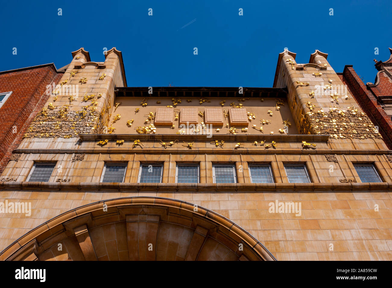 Looking up at the Art Nouveau frontage of the Whitechapel gallery London Stock Photo
