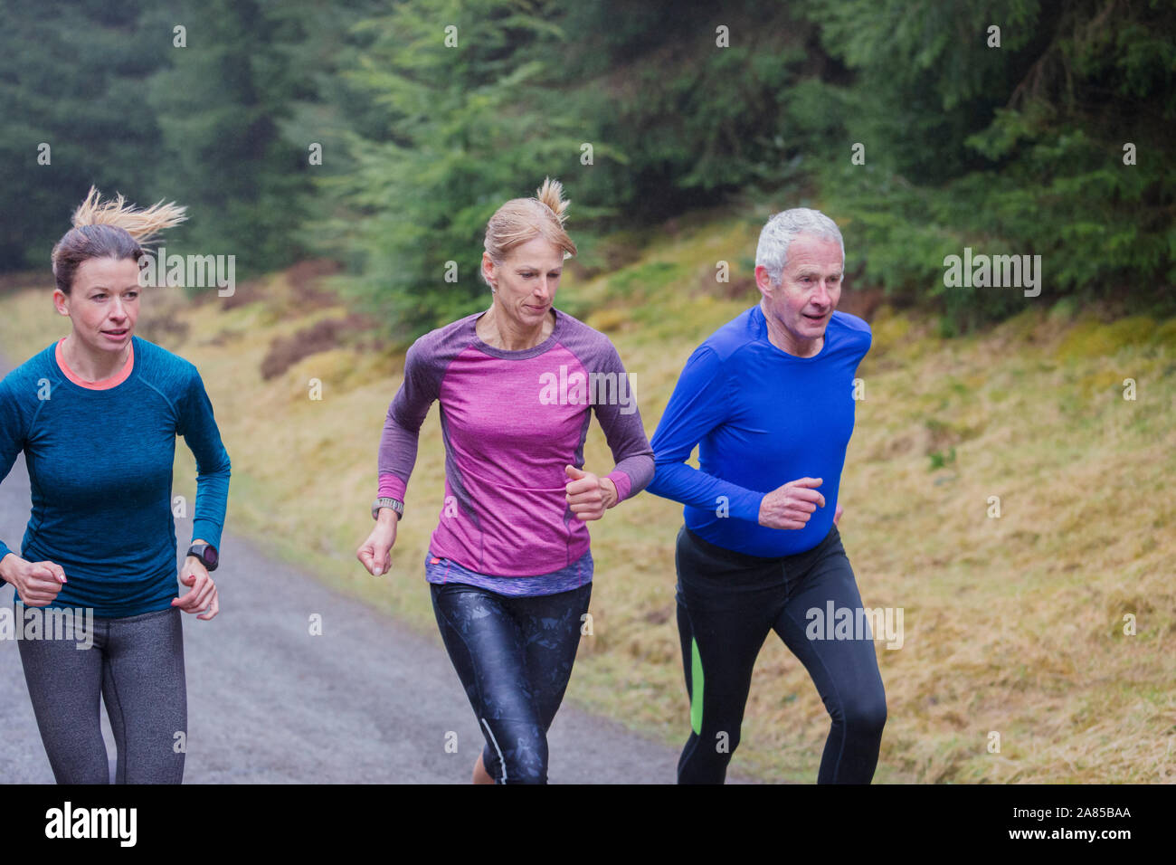 Family jogging on trail in rainy woods Stock Photo