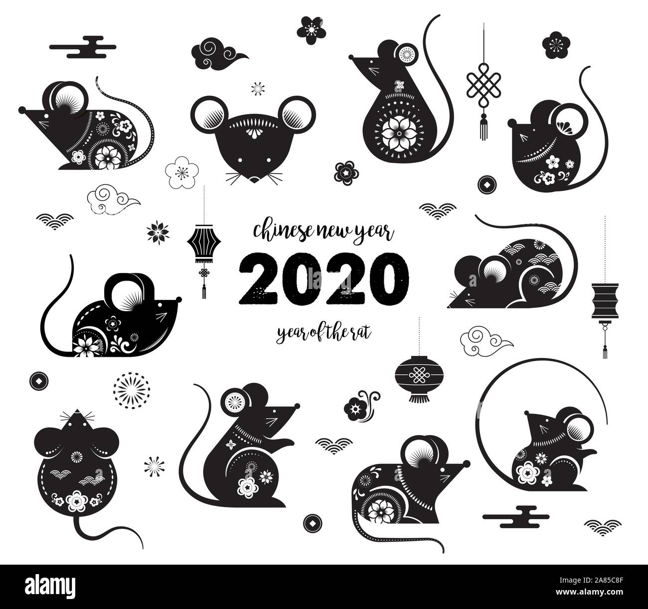 Korean New Year 2020.Happy Chinese New Year Design 2020 Rat Zodiac Cute