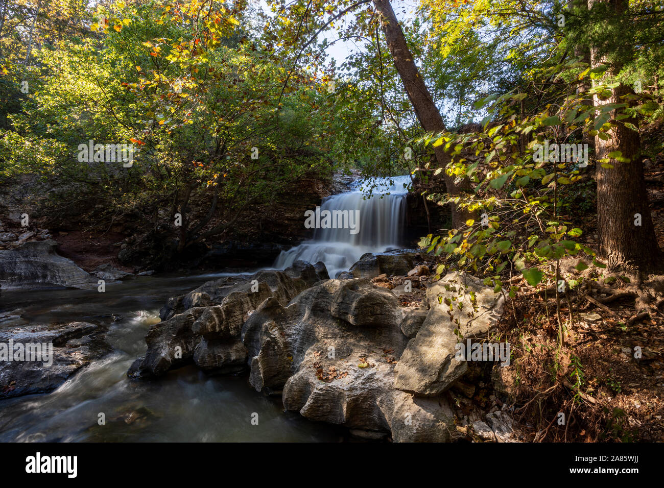 Tanyard Creek waterfall in Bella Vista, Arkansas Stock Photo