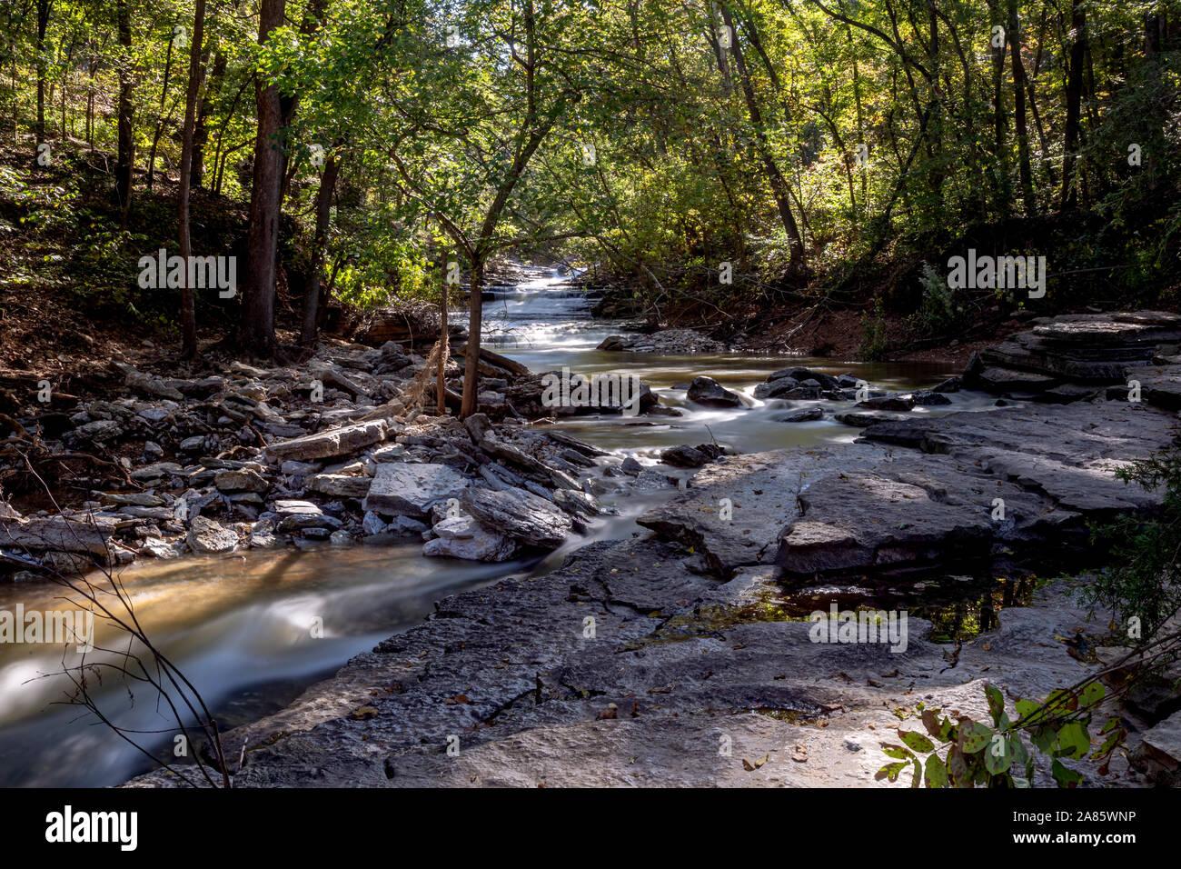 Tanyard Creek waterfall in Bella Vista, Arkansas Stock Photo