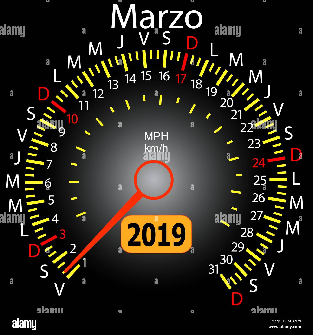 2019 year calendar speedometer car in Spanish March. Stock Vector