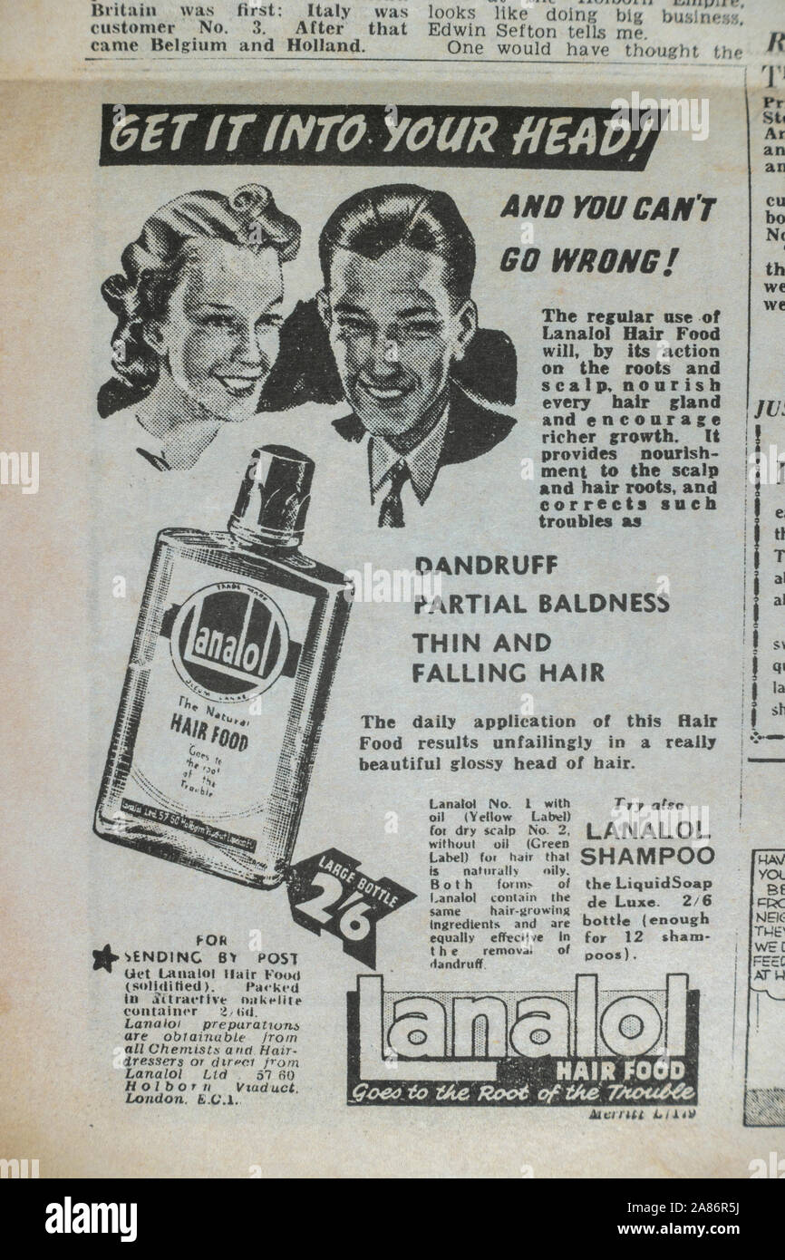 Ad for Lanalol Hair Food: Daily Sketch newspaper (replica), 29th August 1940 (during the Blitz). Stock Photo
