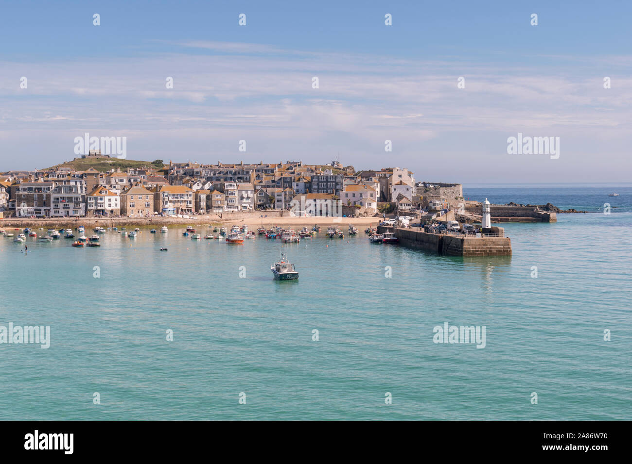 Summer in the popular seaside resort of St Ives, Cornwall. Stock Photo