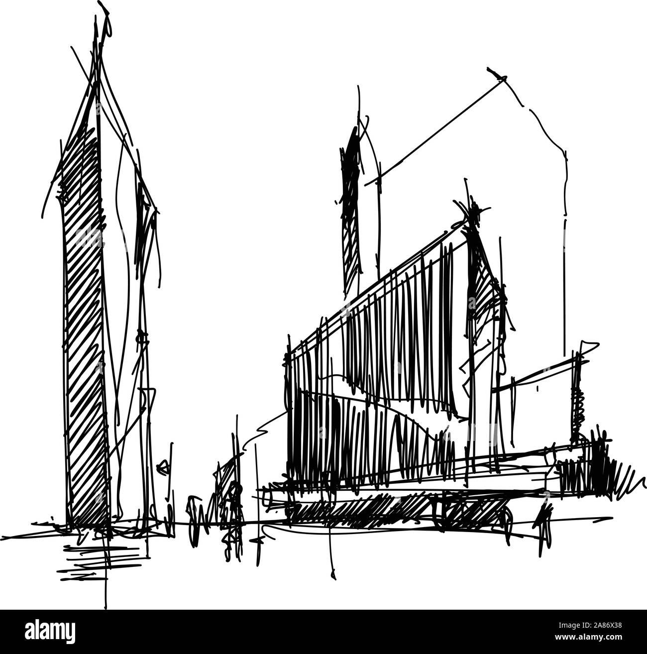 hand drawn architectural sketch of a modern abstract architecture Stock Vector