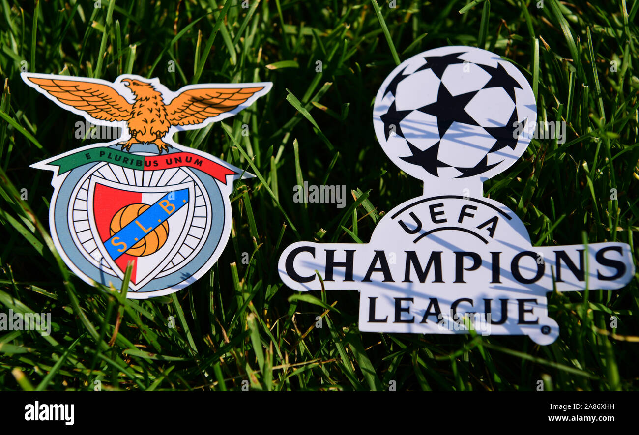 benfica fc high resolution stock photography and images alamy https www alamy com september 6 2019 istanbul turkey the emblem of the portuguese football club benfica lisbon next to the logo of the champions league on the green gr image332066829 html