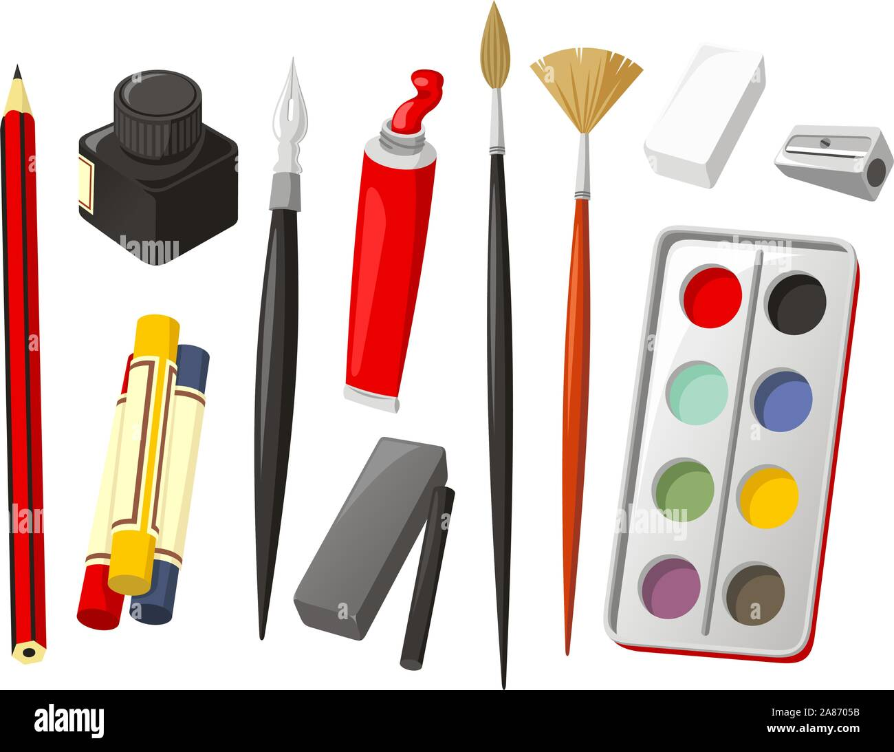 Art Icon Set, with Pencil, crayon, wax crayon, ink, quill, oil paint, brush, rubber, sharpener, watercolor, watercolor paint, charcoal. Vector illustr Stock Vector