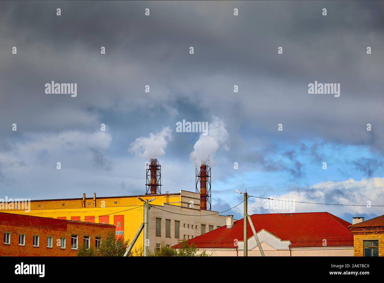 Air pollution and climate change theme. Poor environment in the city. Stock Photo