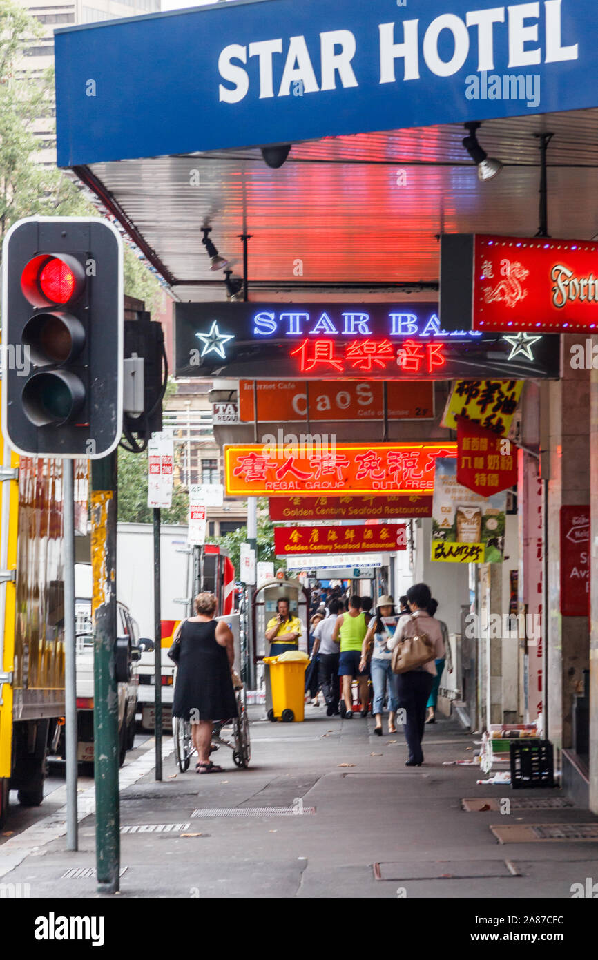 Sydney, Australia - March 15th 2013: The star hotel and other Chinese signs. This is the centre of Chinatown Stock Photo