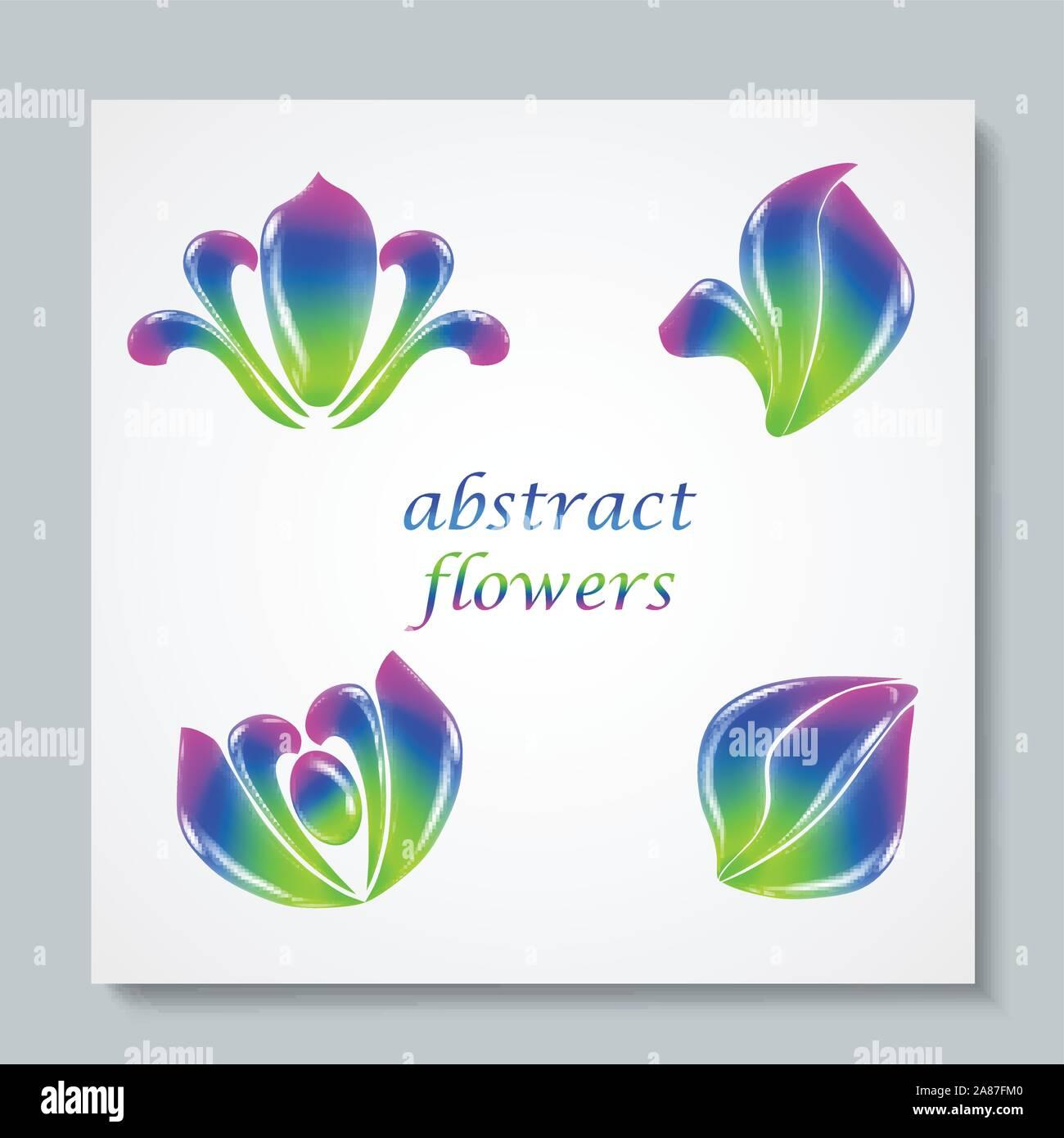 Luxury image logo Rainbow Abstract Flowers Set. Vector illusration Stock Vector
