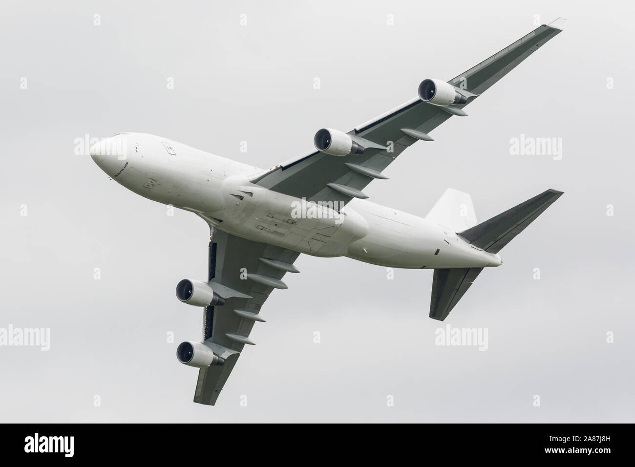 YPSILANTI, MICHIGAN / USA - August 25, 2018: A Boeing 747 owned by Kalitta Air performs a flyby at the 2018 Thunder Over Michigan Airshow. Stock Photo