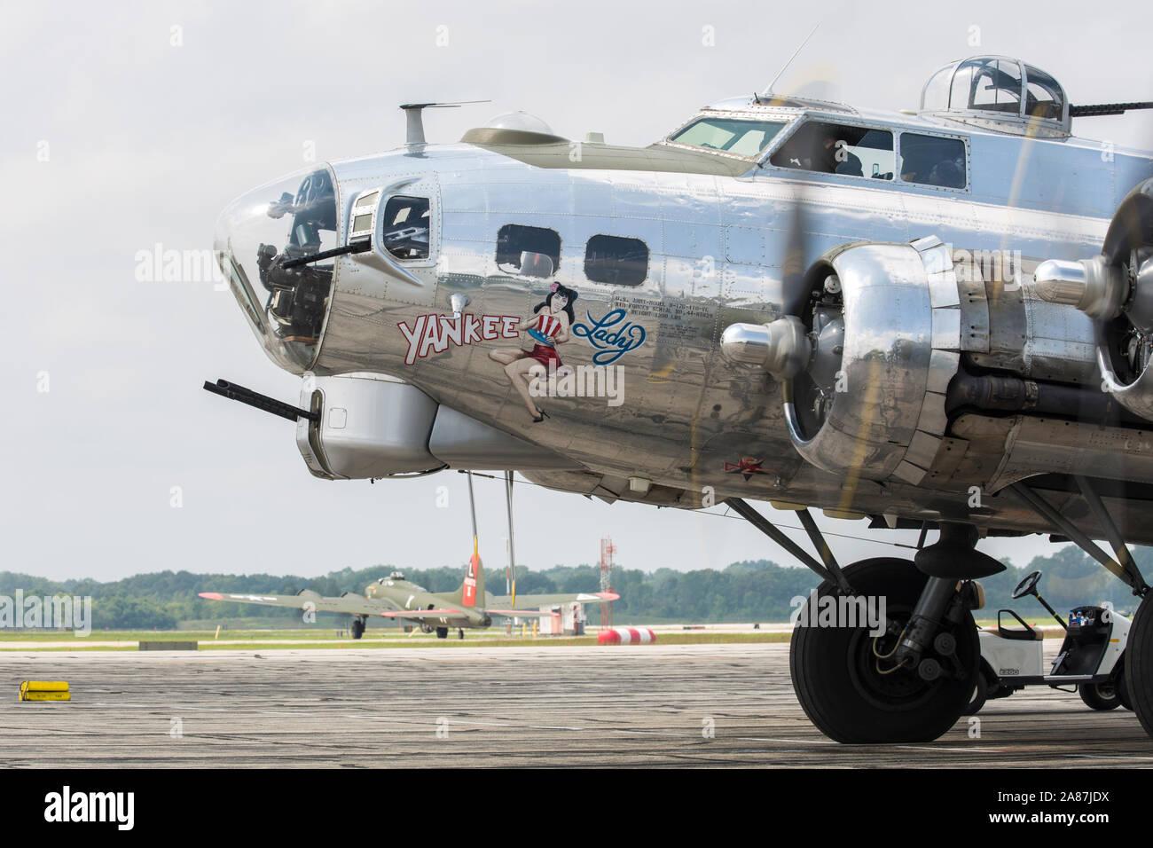 YPSILANTI, MICHIGAN / USA - August 25, 2018: A World War II era B-17 Flying Fortress at the 2018 Thunder Over Michigan Airshow. Stock Photo
