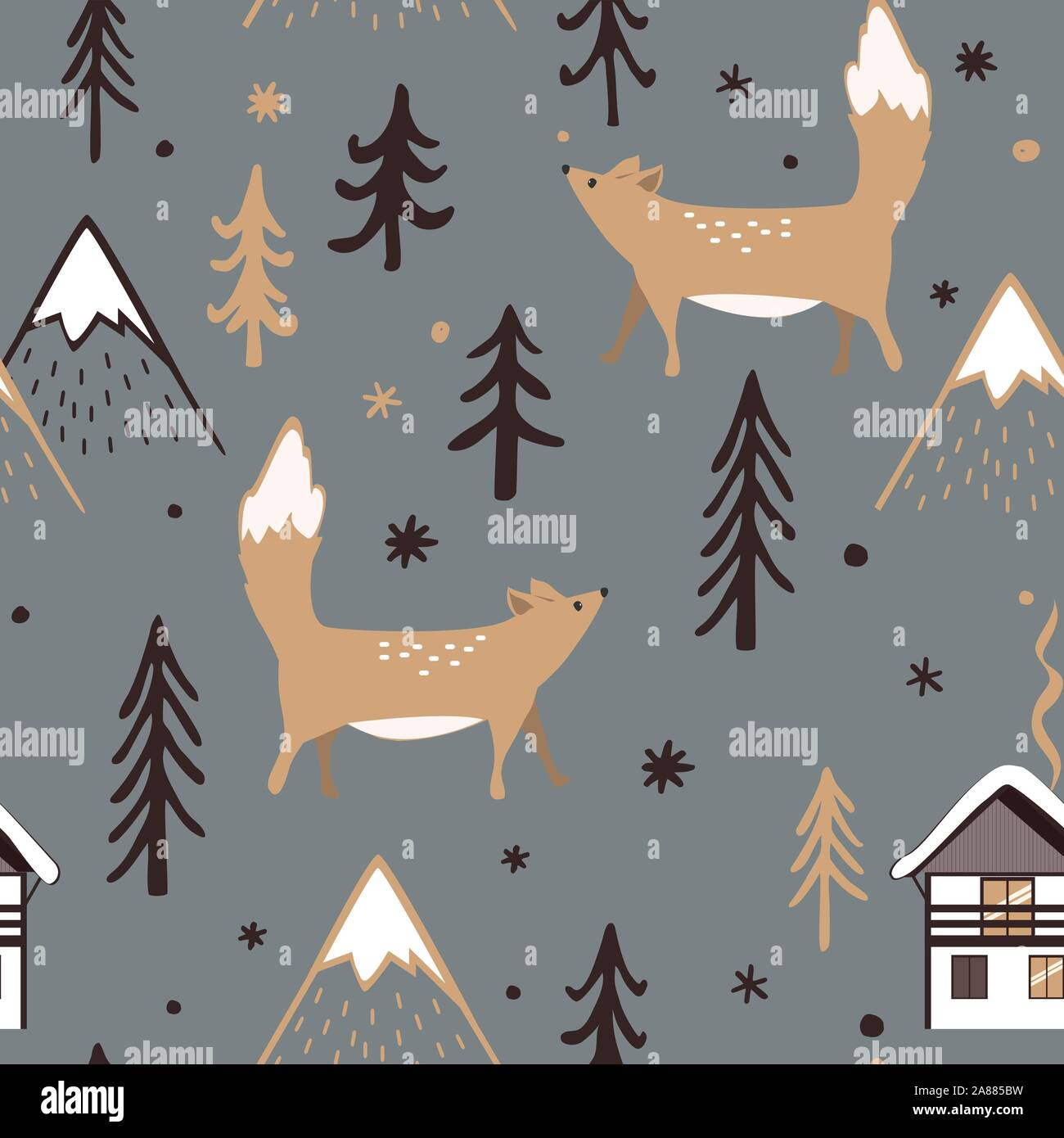 Seamless Christmas pattern with forest trees, mountains, and foxes. Happy New Year background. Xmas Vector design for winter holidays. Child drawing Stock Vector