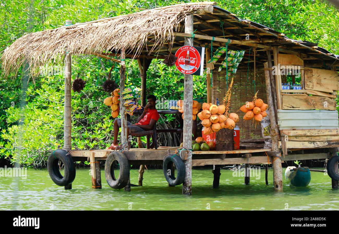 Vendor in srilankan madhu river Stock Photo