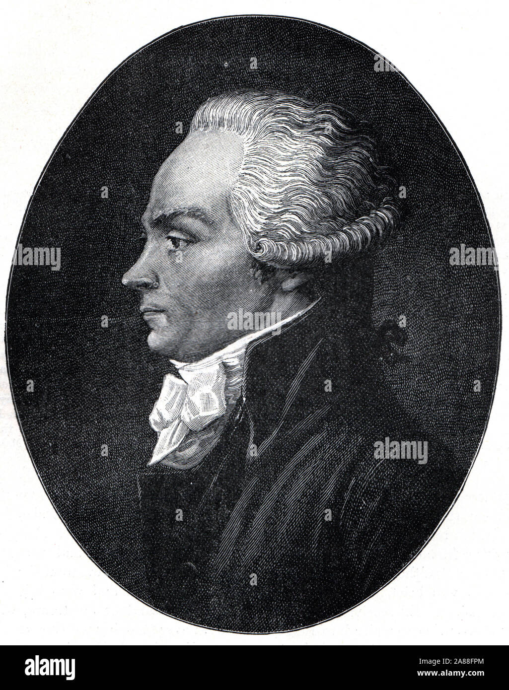Portrait of Maximilien Robespierre an influenctial figure in the French Revolution.  Black and White Illustration; Stock Photo