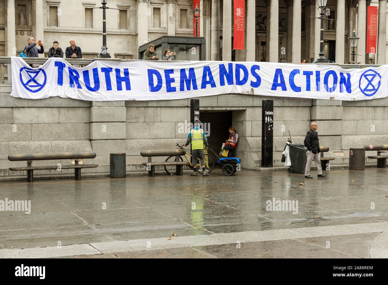 Signs and banners at Extinction Rebellion Protest Stock Photo